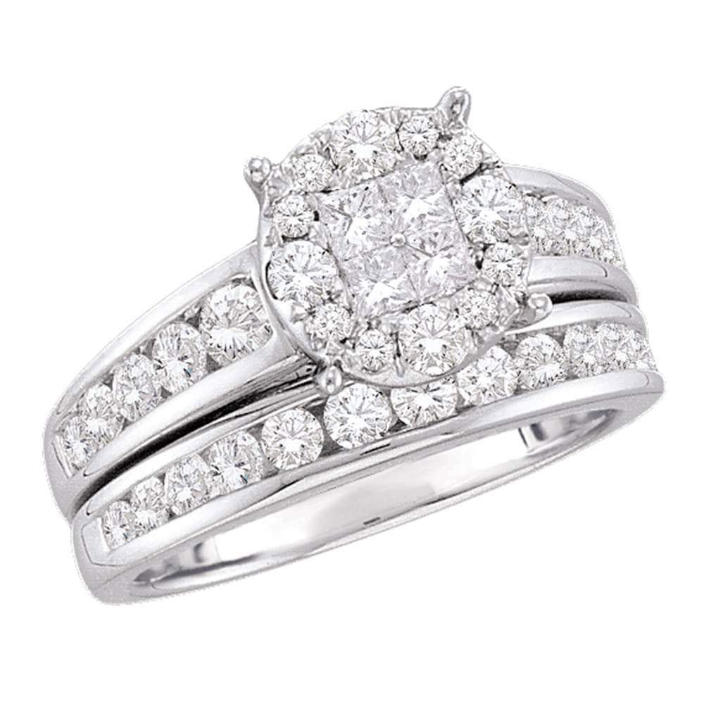 14kt White Gold Diamond Cluster Bridal Wedding Ring Band Set 1-3/8 Cttw