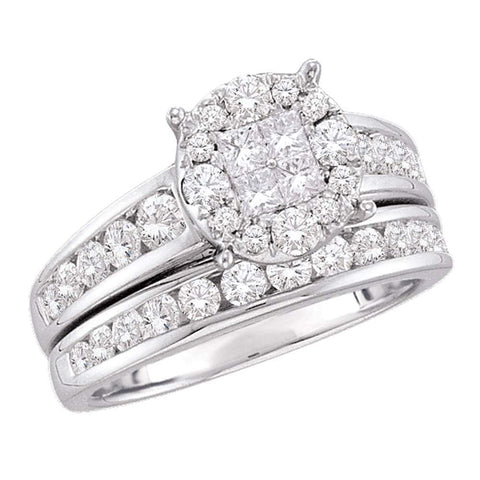 14kt White Gold Womens Diamond Soleil Cluster Bridal Wedding Engagement Ring Band Set 1-3/8 Cttw