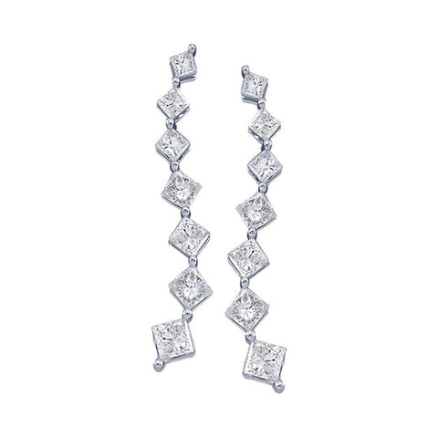 14kt White Gold Womens Princess Diamond Journey Stud Earrings 1/2 Cttw