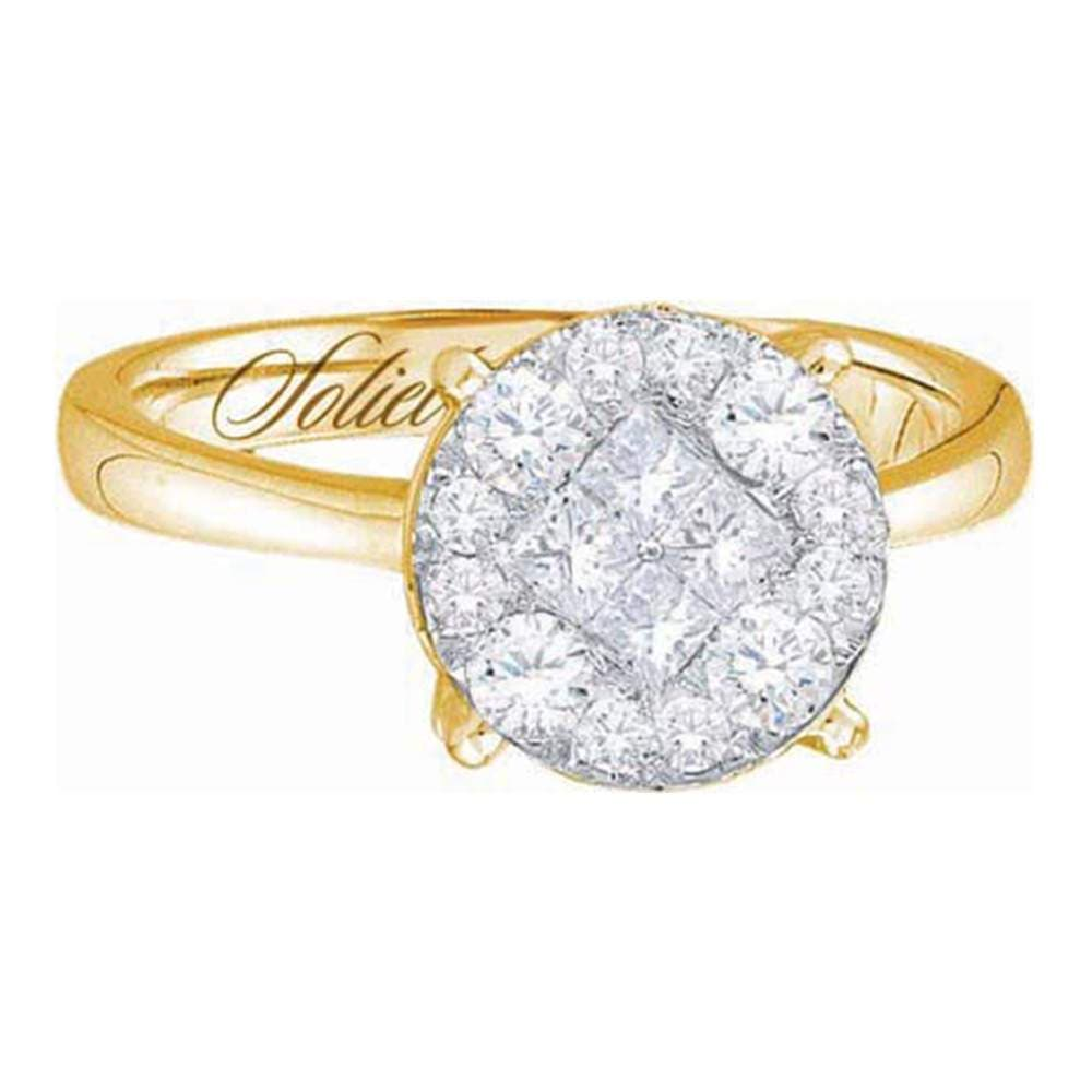 14kt Yellow Gold Womens Princess Round Diamond Soleil Cluster Bridal Wedding Engagement Ring 2.00 Cttw