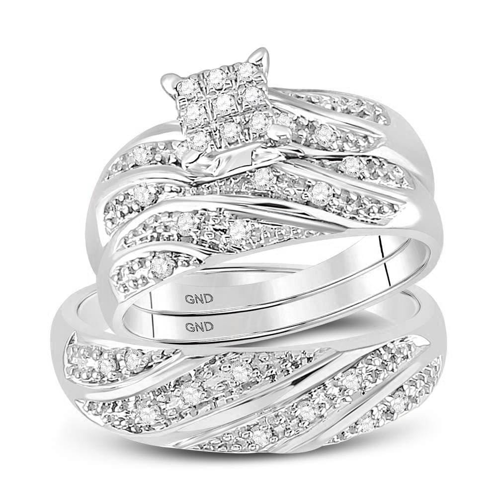 14kt White Gold His & Hers Round Diamond Cluster Matching Bridal Wedding Ring Band Set 1/4 Cttw