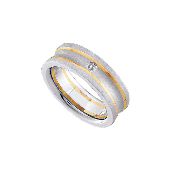Tungsten Carbide Yellow Gold Mens Round Diamond Fusion Band Ring 1/20 Cttw