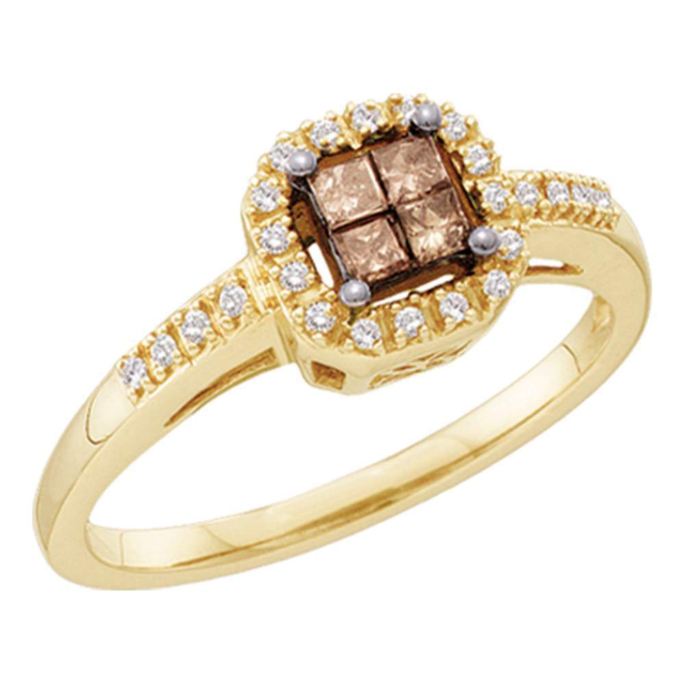 10kt Yellow Gold Womens Princess Cognac-brown Color Enhanced Diamond Square Cluster Ring 1/4 Cttw