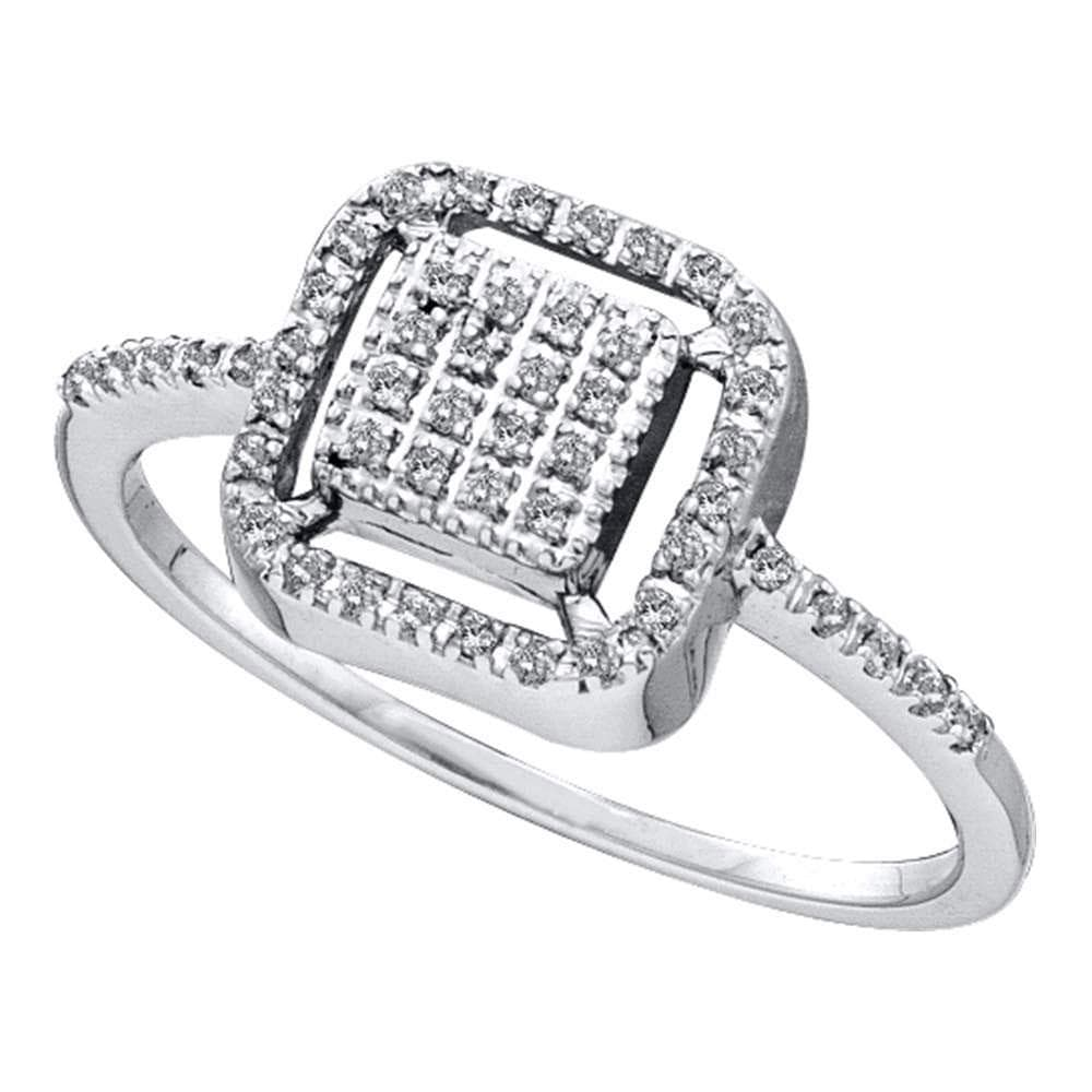 14kt White Gold Womens Round Diamond Square Frame Cluster Slender Ring 1/6 Cttw