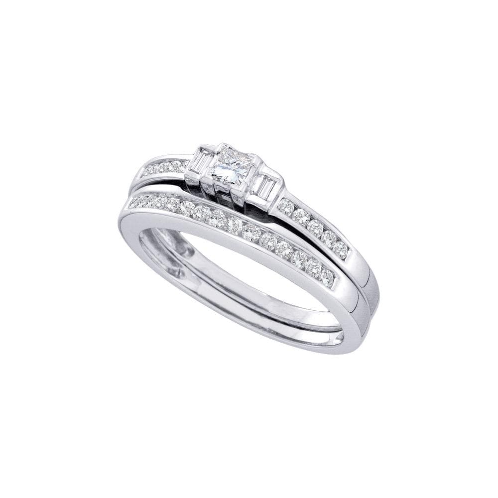 14kt White Gold Womens Princess Diamond 3-Stone Bridal Wedding Engagement Ring Band Set 3/8 Cttw