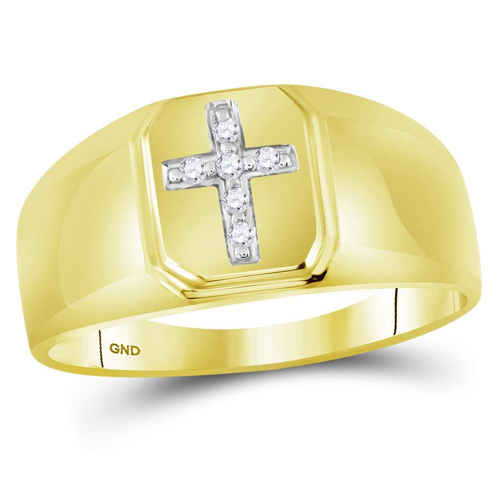 10kt Yellow Gold Mens Round Diamond Christian Cross Brushed Band Ring 1/20 Cttw