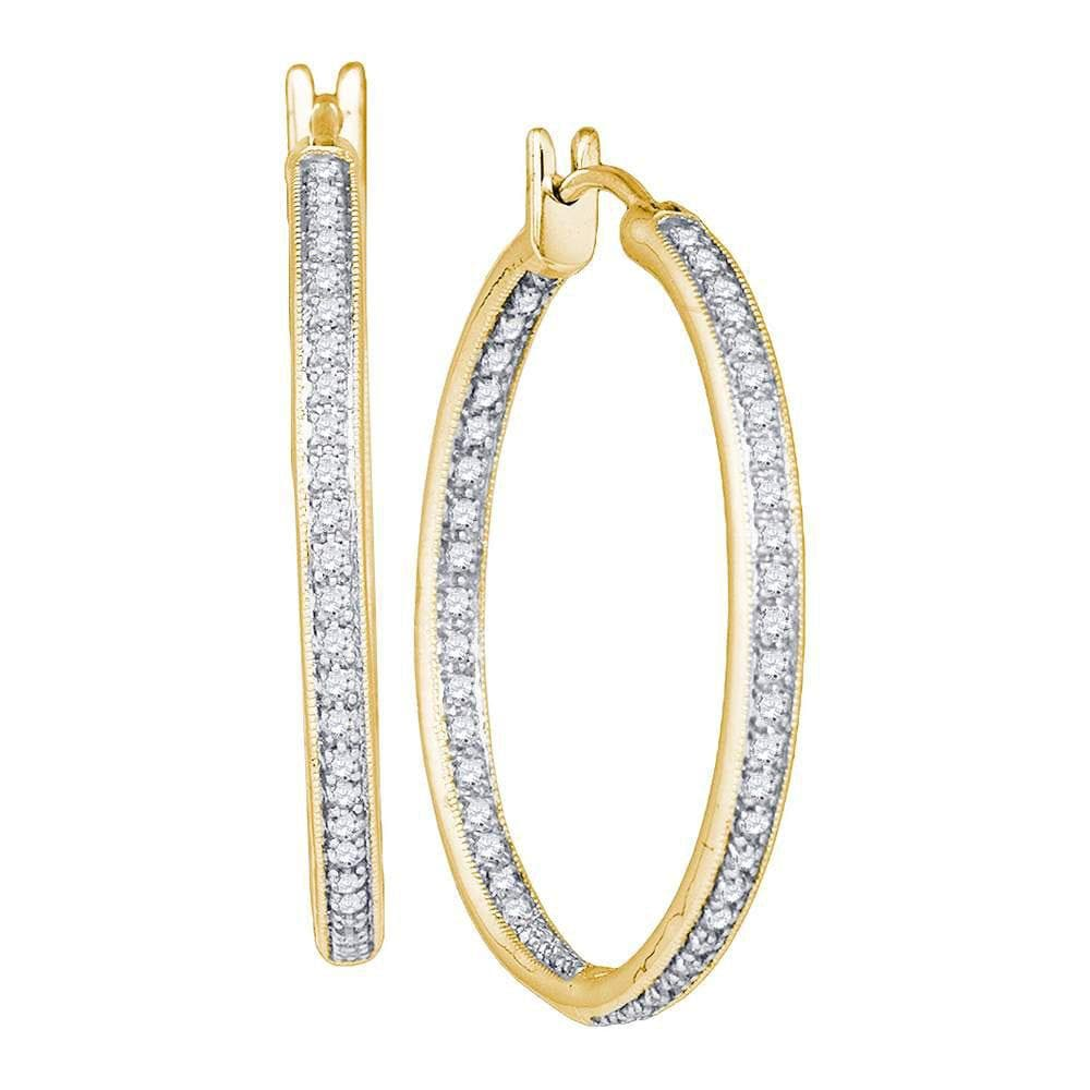 14kt Yellow Gold Womens Round Diamond Single Row Inside Outside Hoop Earrings 1.00 Cttw