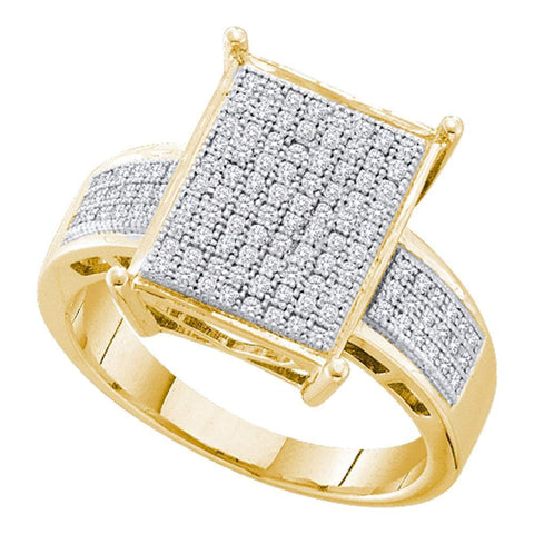 10kt Yellow Gold Womens Round Pave-set Diamond Rectangle Cluster Ring 1/3 Cttw