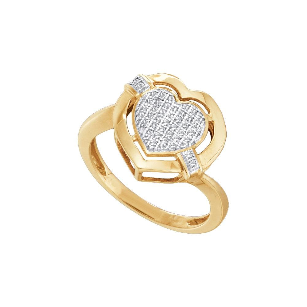10kt Yellow Gold Womens Round Diamond Heart Cluster Ring 1/8 Cttw