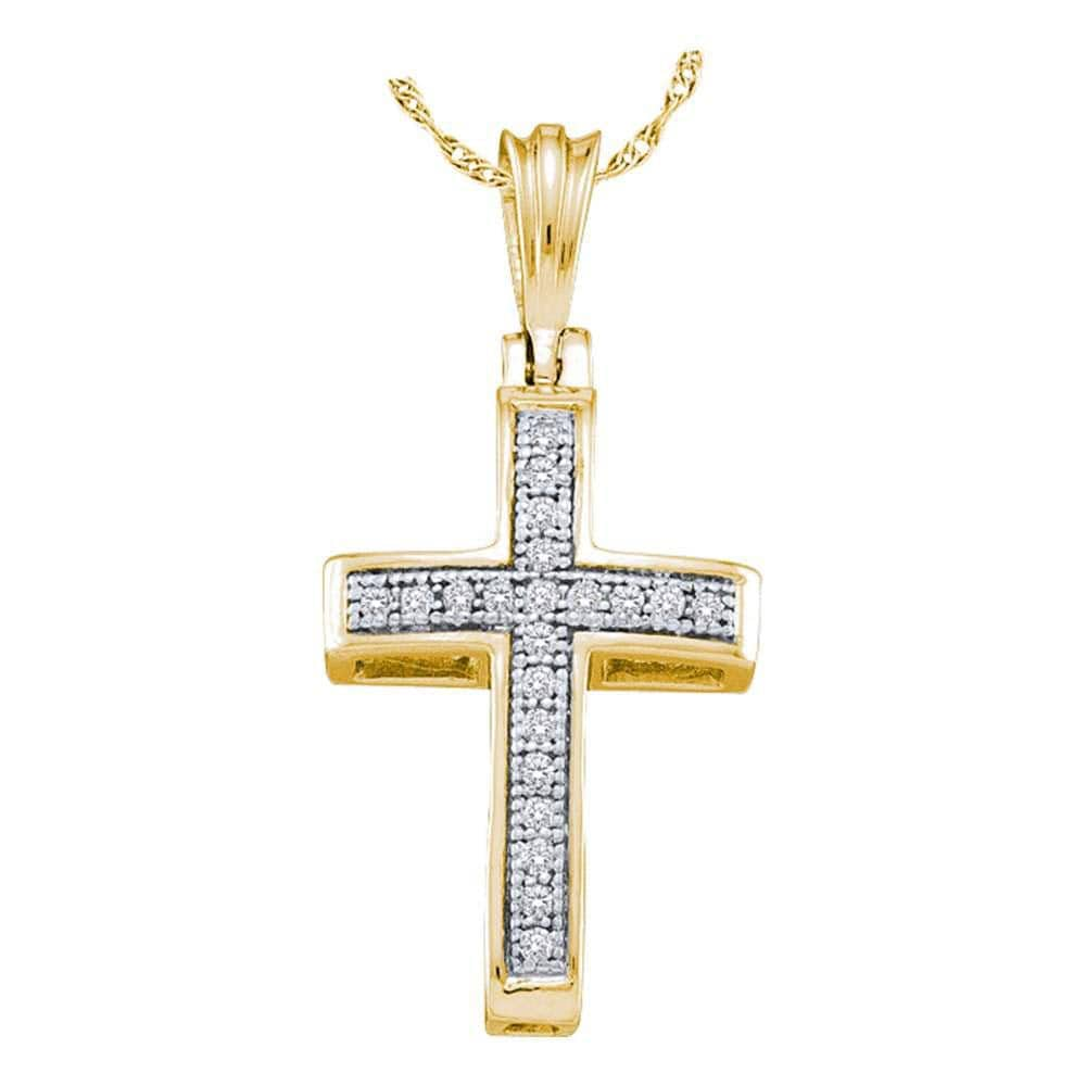 10kt Yellow Gold Womens Round Diamond Cross Religious Pendant 1/12 Cttw