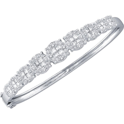 14kt White Gold Womens Princess Round Diamond Soleil Bangle Bracelet 3-1/10 Cttw