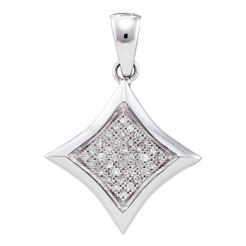 10kt White Gold Womens Round Diamond Square Kite Cluster Pendant 1/8 Cttw