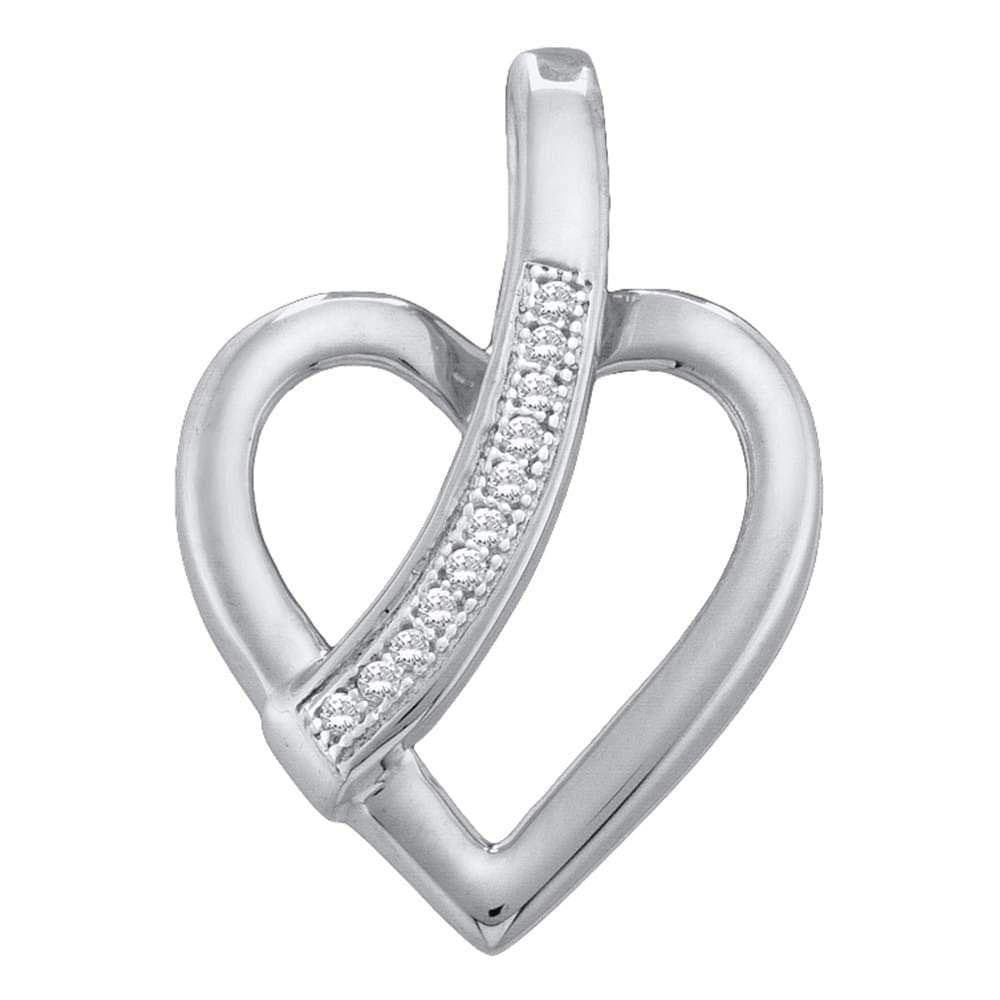 10kt White Gold Womens Round Diamond Heart Love Pendant .03 Cttw