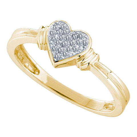 10kt Yellow Gold Womens Round Diamond Simple Heart Cluster Ring 1/12 Cttw