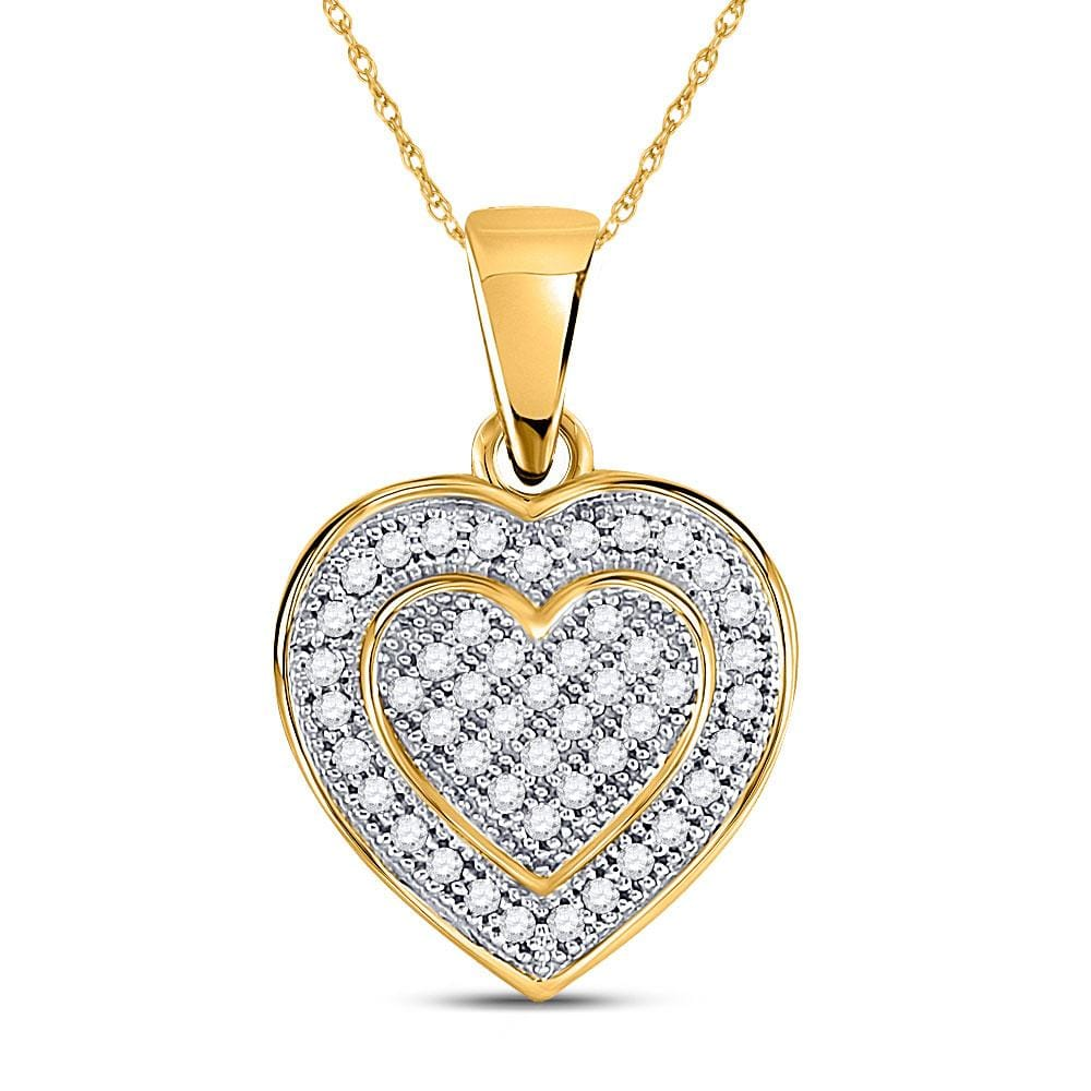 10kt Yellow Gold Womens Round Diamond Layered Heart Cluster Pendant 1/6 Cttw