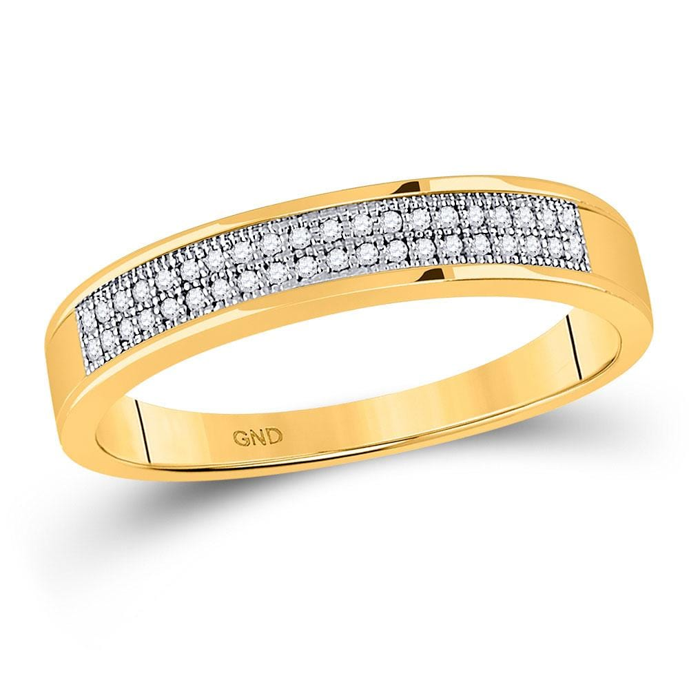 10kt Yellow Gold Mens Round Diamond Pave Band Ring 1/ Cttw