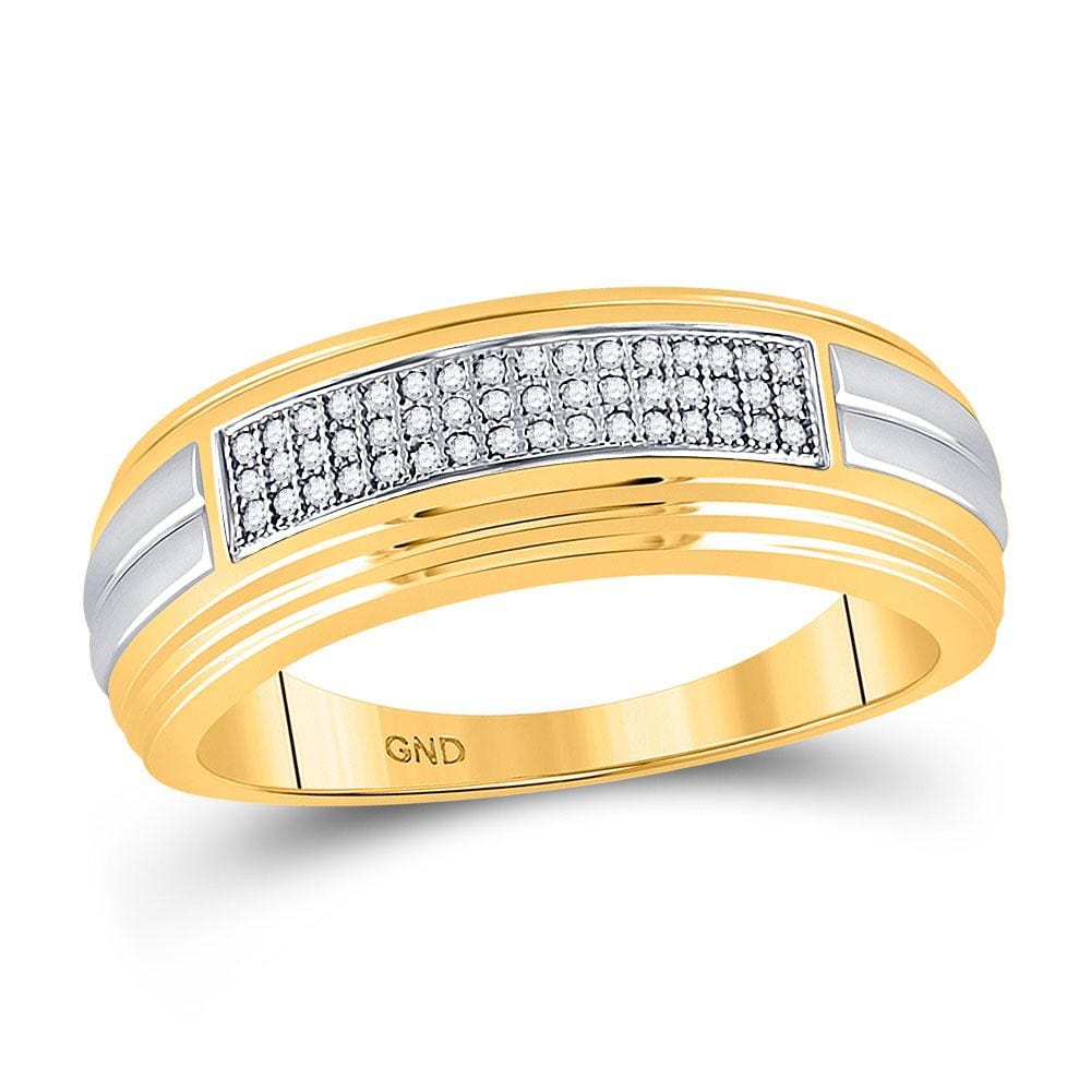 10kt Two-tone Gold Mens Round Diamond Pave Band Ring 1/6 Cttw
