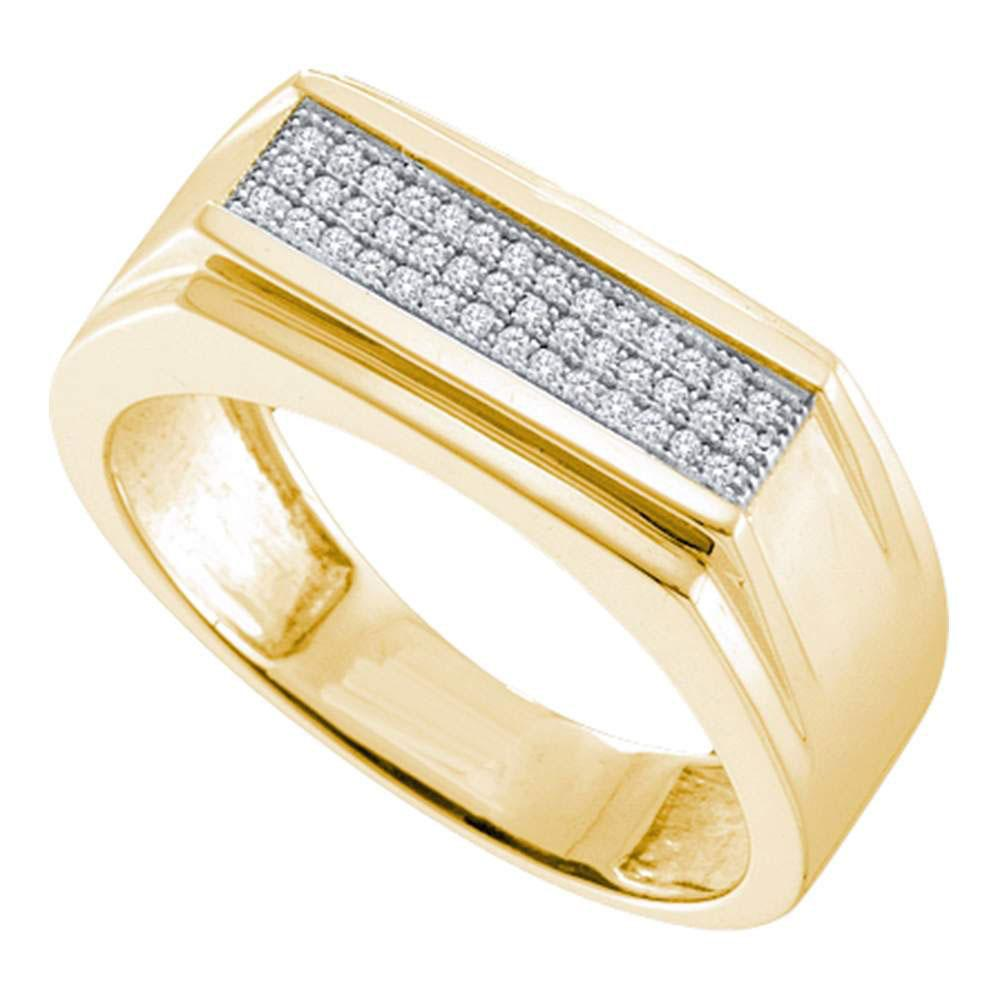 10kt Yellow Gold Mens Round Diamond Flat Top Band Ring 1/6 Cttw