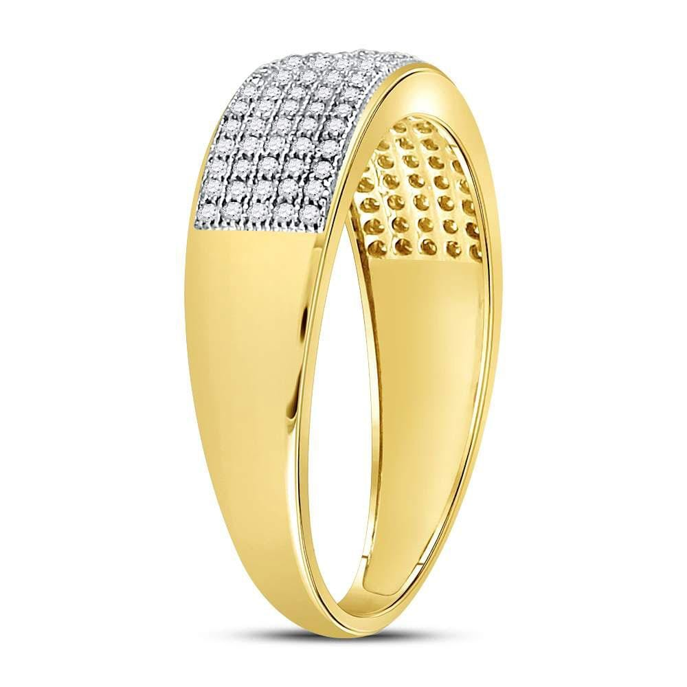 10kt Yellow Gold Mens Round Diamond Wedding Band Ring 3/8 Cttw