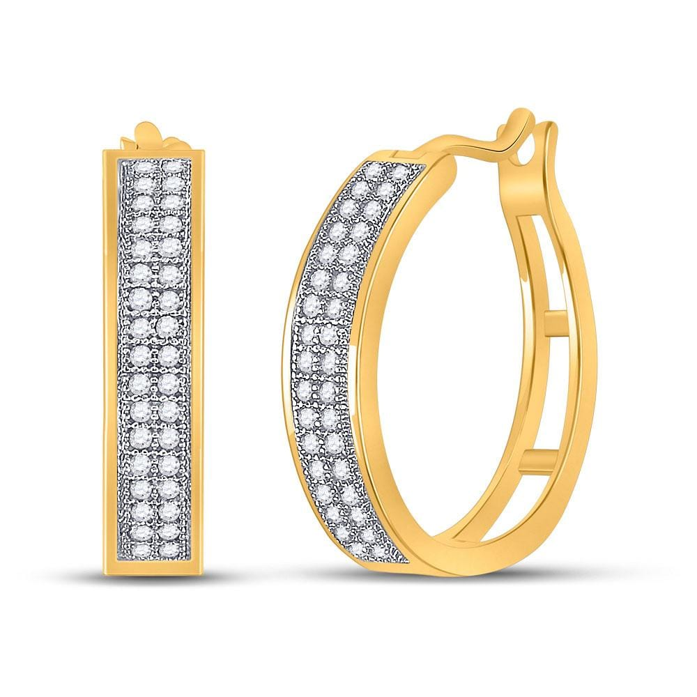 10kt Yellow Gold Womens Round Diamond Hoop Earrings 1/5 Cttw