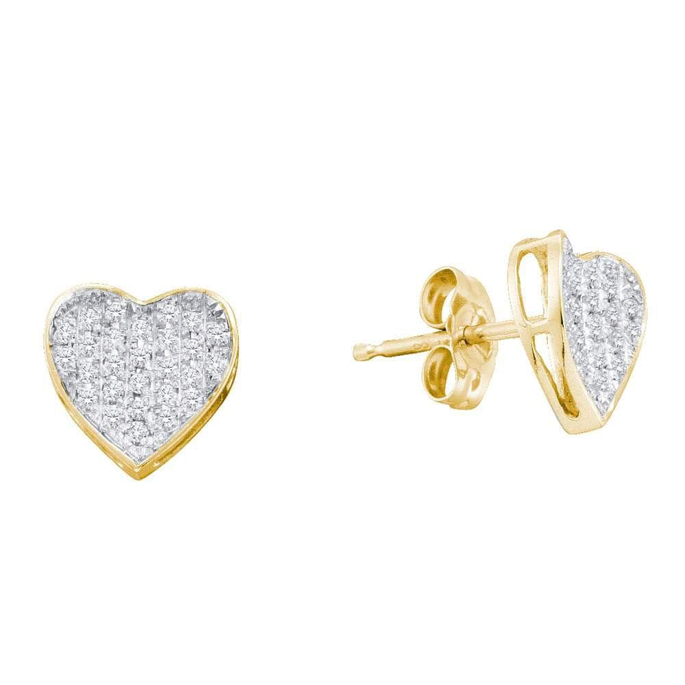 10kt Yellow Gold Womens Round Diamond Heart Cluster Stud Earrings 1/5 Cttw