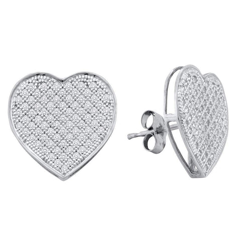 10kt White Gold Womens Round Diamond Heart Love Cluster Earrings 1/2 Cttw