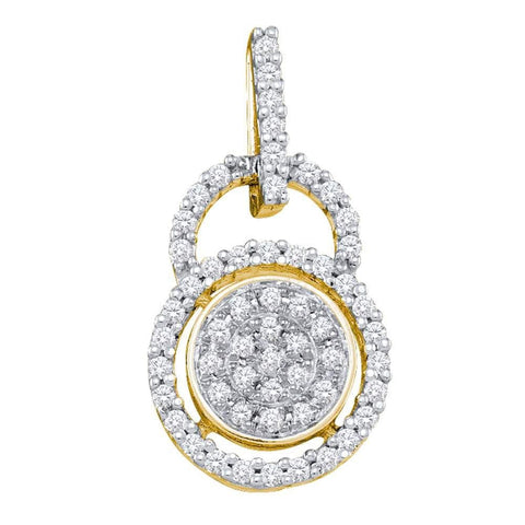 10kt Yellow Gold Womens Round Diamond Circle Frame Cluster Pendant 1/5 Cttw