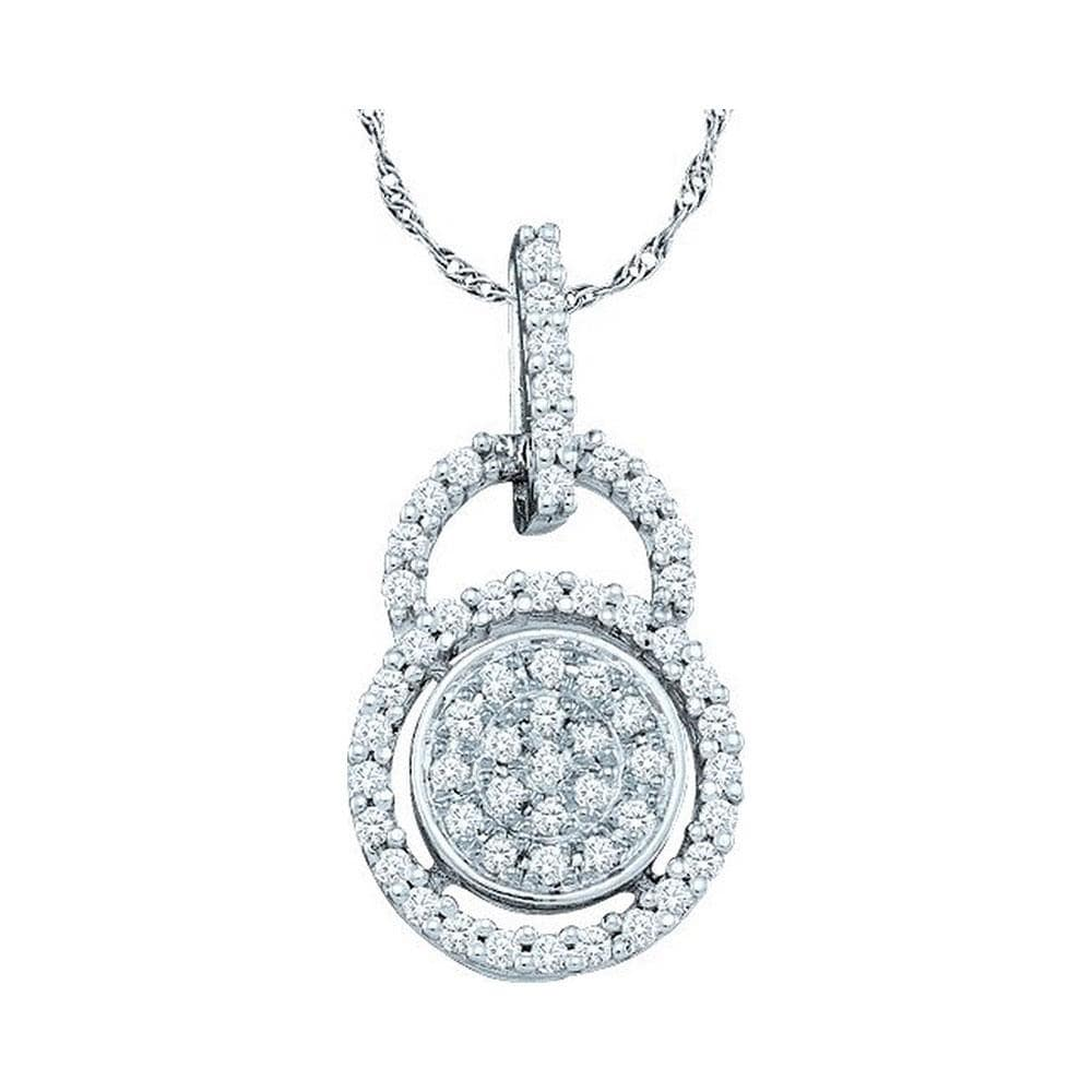 10kt White Gold Womens Round Diamond Circle Frame Cluster Pendant 1/5 Cttw
