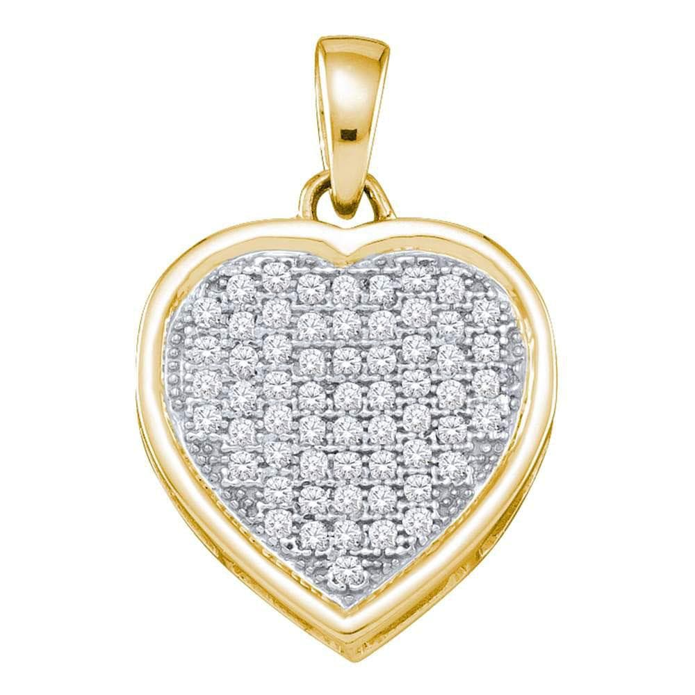 10kt Yellow Gold Womens Round Diamond Small Simple Heart Love Pendant 1/5 Cttw