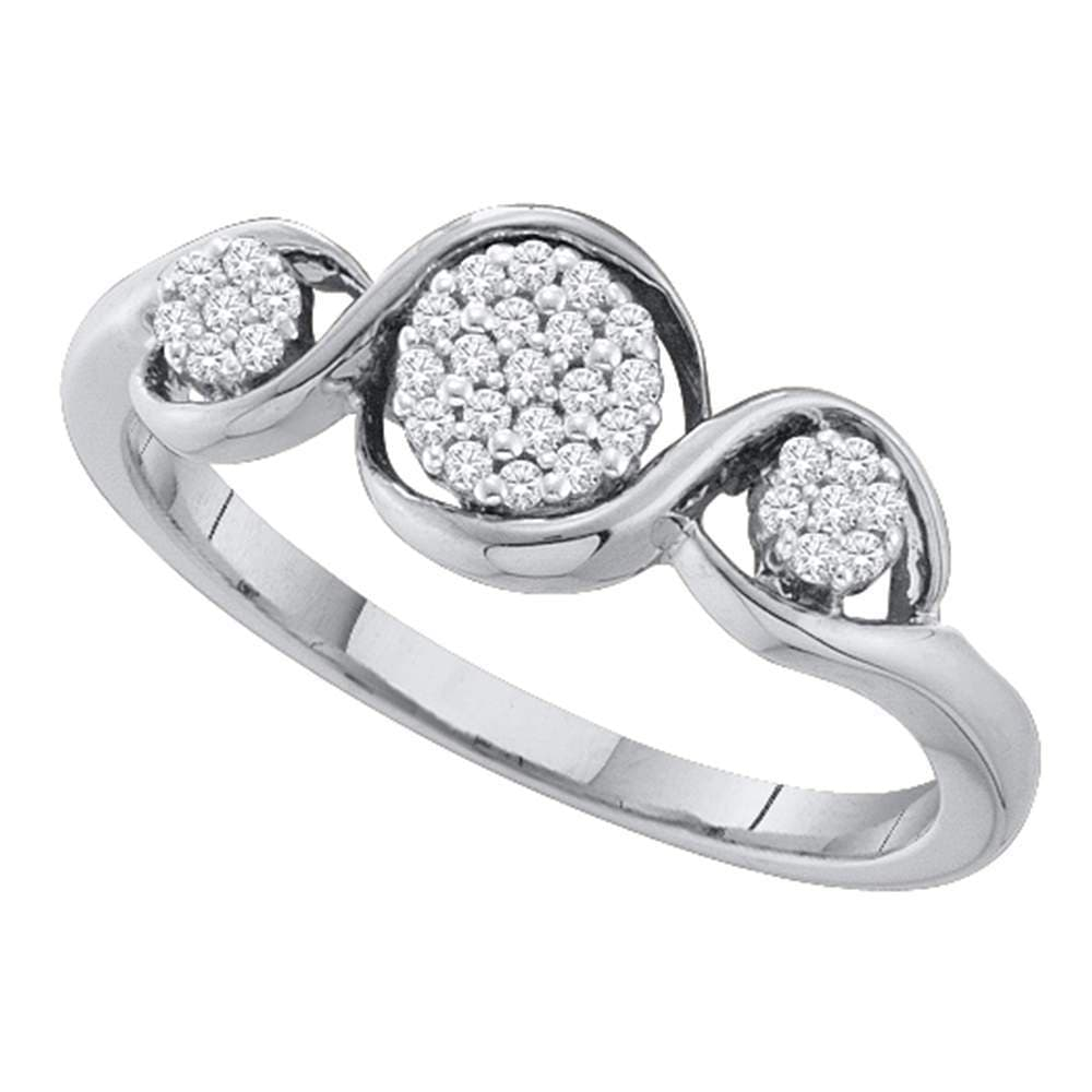 10kt White Gold Womens Round Diamond Triple Cluster Ring 1/8 Cttw