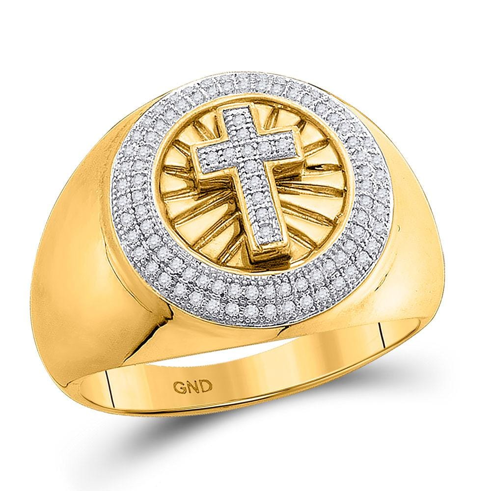 10kt Yellow Gold Mens Round Diamond Cross Fashion Ring 1/3 Cttw