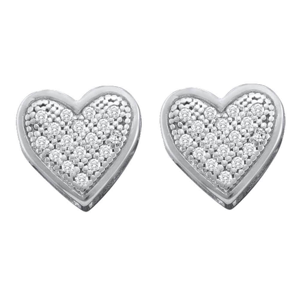 10kt White Gold Womens Round Diamond Heart Screwback Earrings 1/10 Cttw