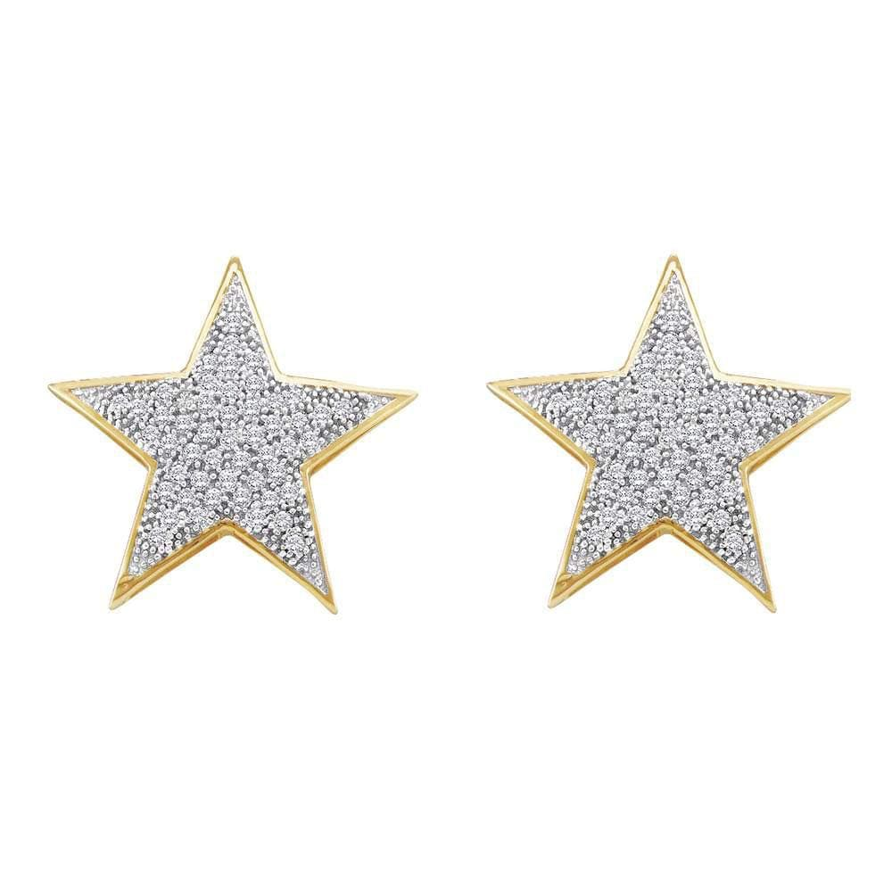 10kt Yellow Gold Womens Round Diamond Star Cluster Stud Earrings 1/4 Cttw