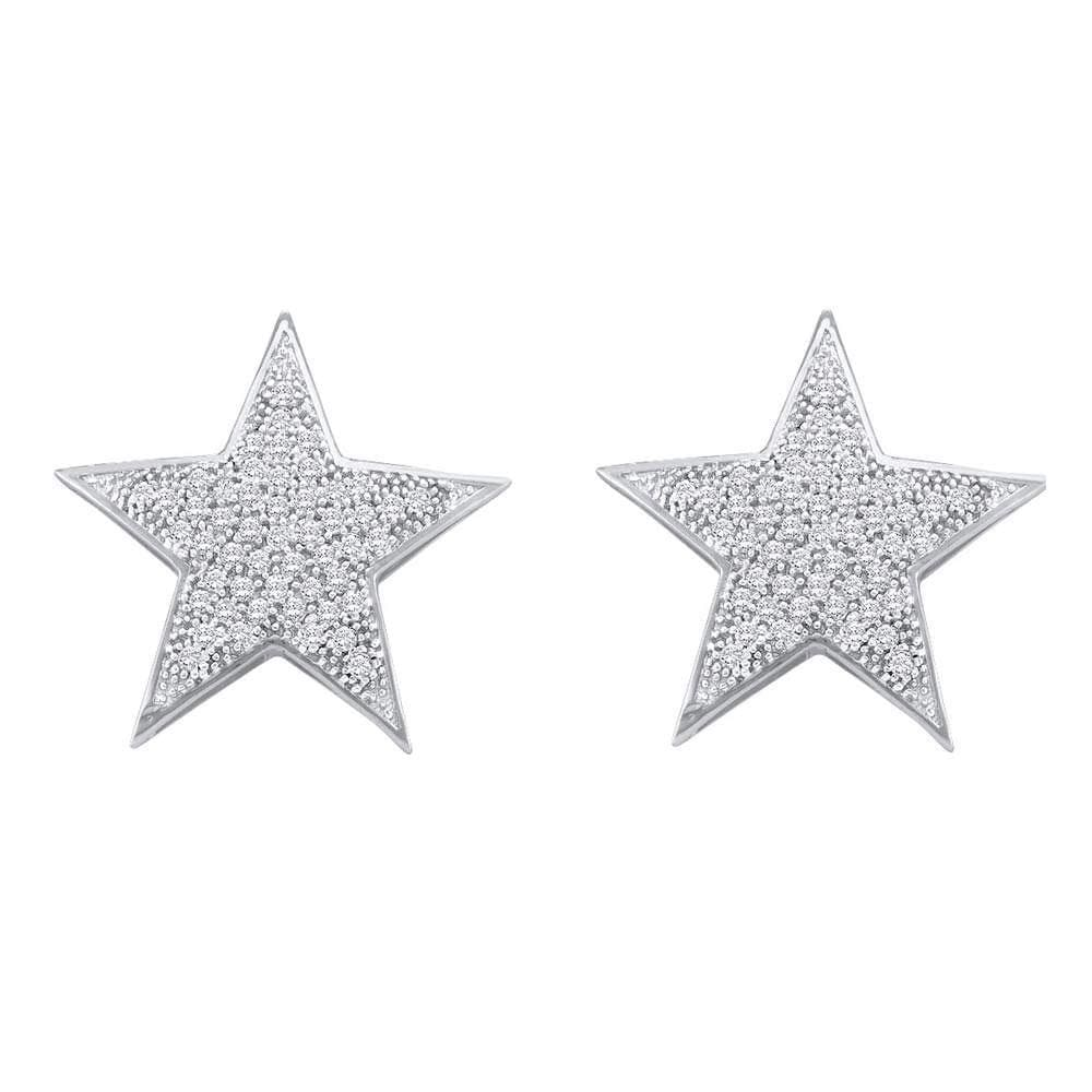 10kt White Gold Womens Round Diamond Star Cluster Stud Earrings 1/4 Cttw
