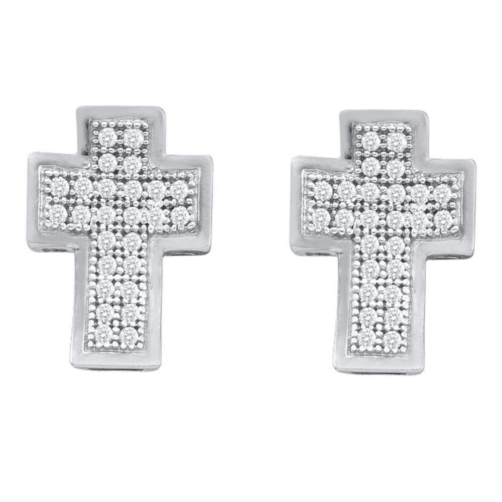10kt White Gold Womens Round Diamond Cross Stud Earrings 1/6 Cttw