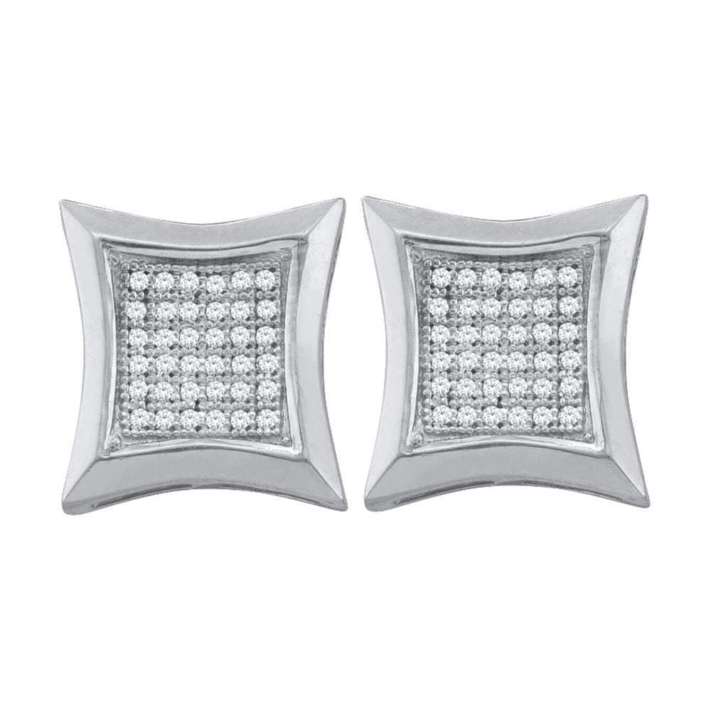 10kt White Gold Womens Round Diamond Square Kite Cluster Earrings 1/4 Cttw