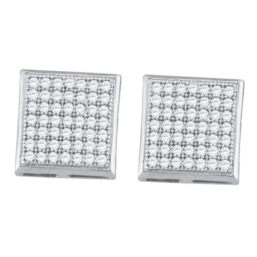 10kt White Gold Womens Round Diamond Square Cluster Earrings 1/3 Cttw