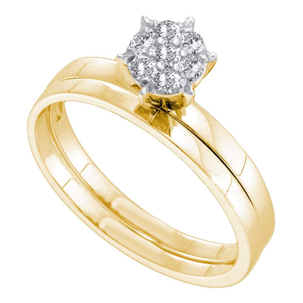 10kt Yellow Gold Womens Round Diamond Cluster Bridal Wedding Engagement Ring Band Set 1/6 Cttw