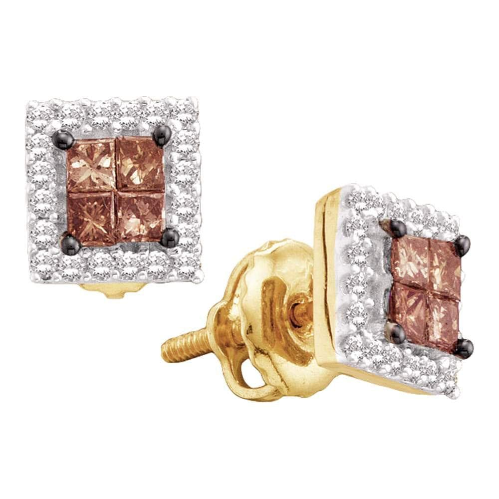 14kt Yellow Gold Womens Princess Cognac-brown Color Enhanced Diamond Square Frame Cluster Earrings 1/3 Cttw