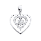 10kt White Gold Womens Round Black Color Enhanced Diamond Heart Love Pendant 1/4 Cttw