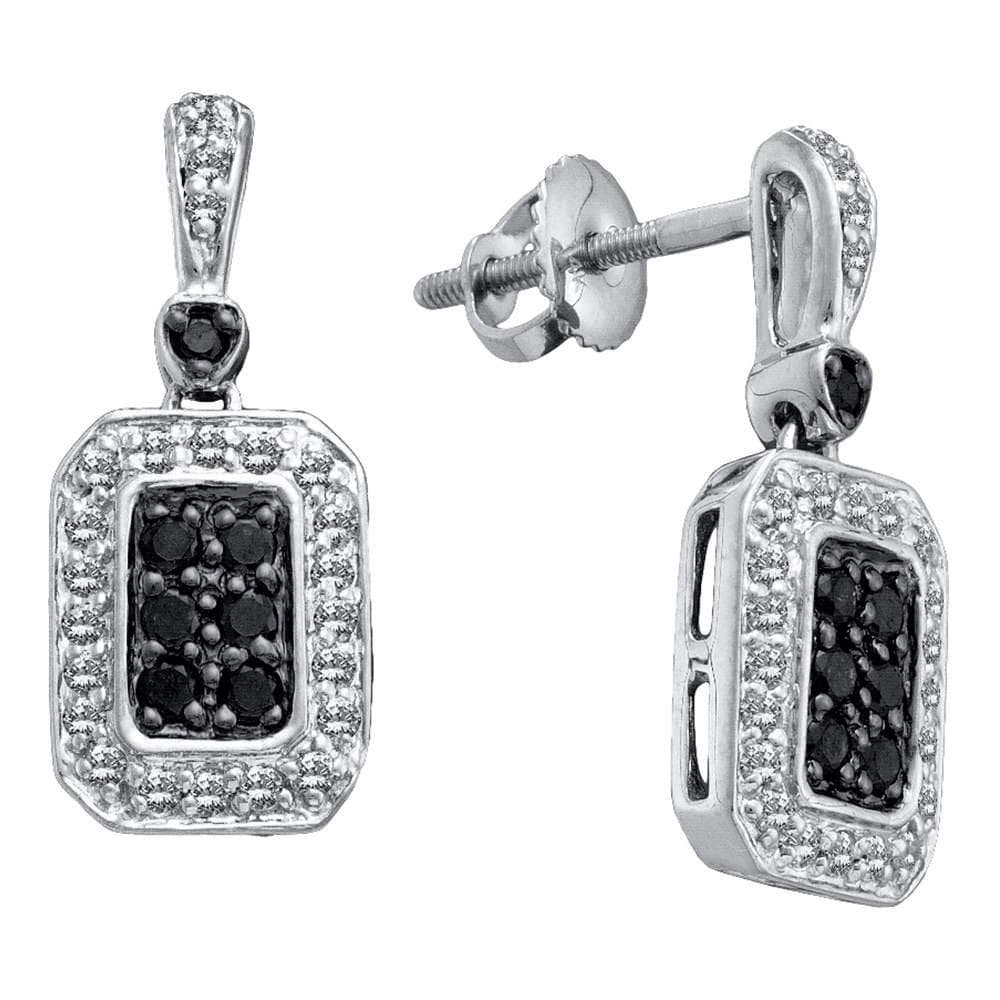14kt White Gold Womens Round Black Color Enhanced Diamond Dangle Earrings 1/2 Cttw