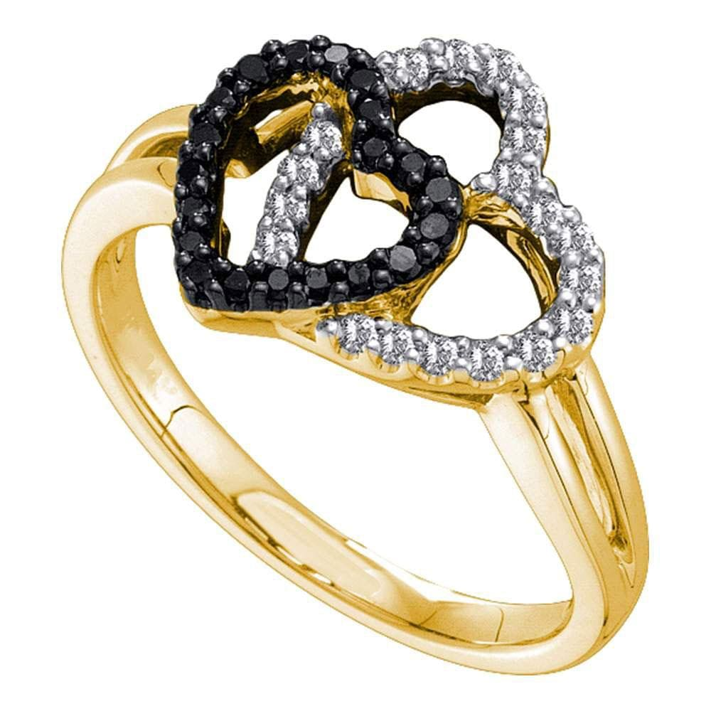 14kt Yellow Gold Womens Round Black Color Enhanced Diamond Heart Ring 1/4 Cttw