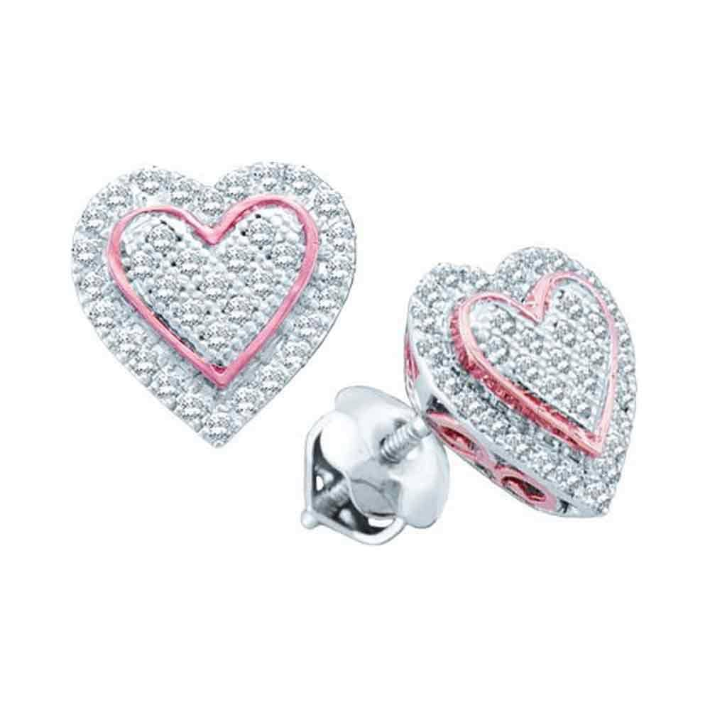 10kt White Gold Womens Round Diamond Rose-tone Heart Cluster Screwback Earrings 1/4 Cttw
