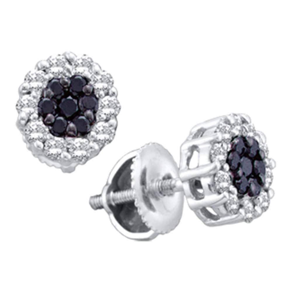 14k White Gold Womens Black Color Enhanced Diamond Flower Cluster Screwback Stud Earrings 1/2 Cttw