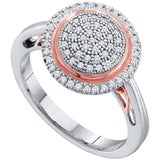 10kt White Rose-tone Gold Womens Round Pave-set Diamond Concentric Circle Cluster Ring 1/4 Cttw