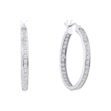 14kt White Gold Womens Round Diamond Inside Outside Hoop Earrings 1/4 Cttw