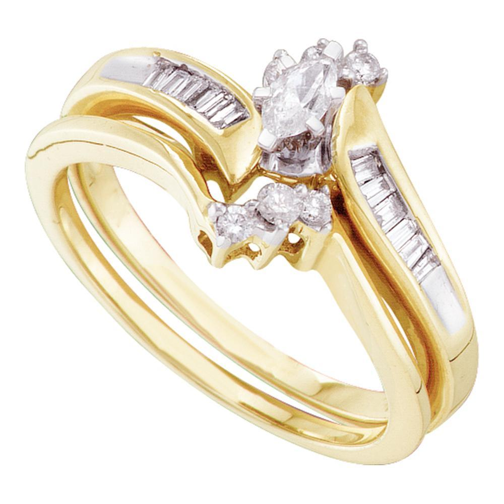 10kt Yellow Gold Womens Marquise Diamond Bridal Wedding Engagement Ring Band Set 1/3 Cttw
