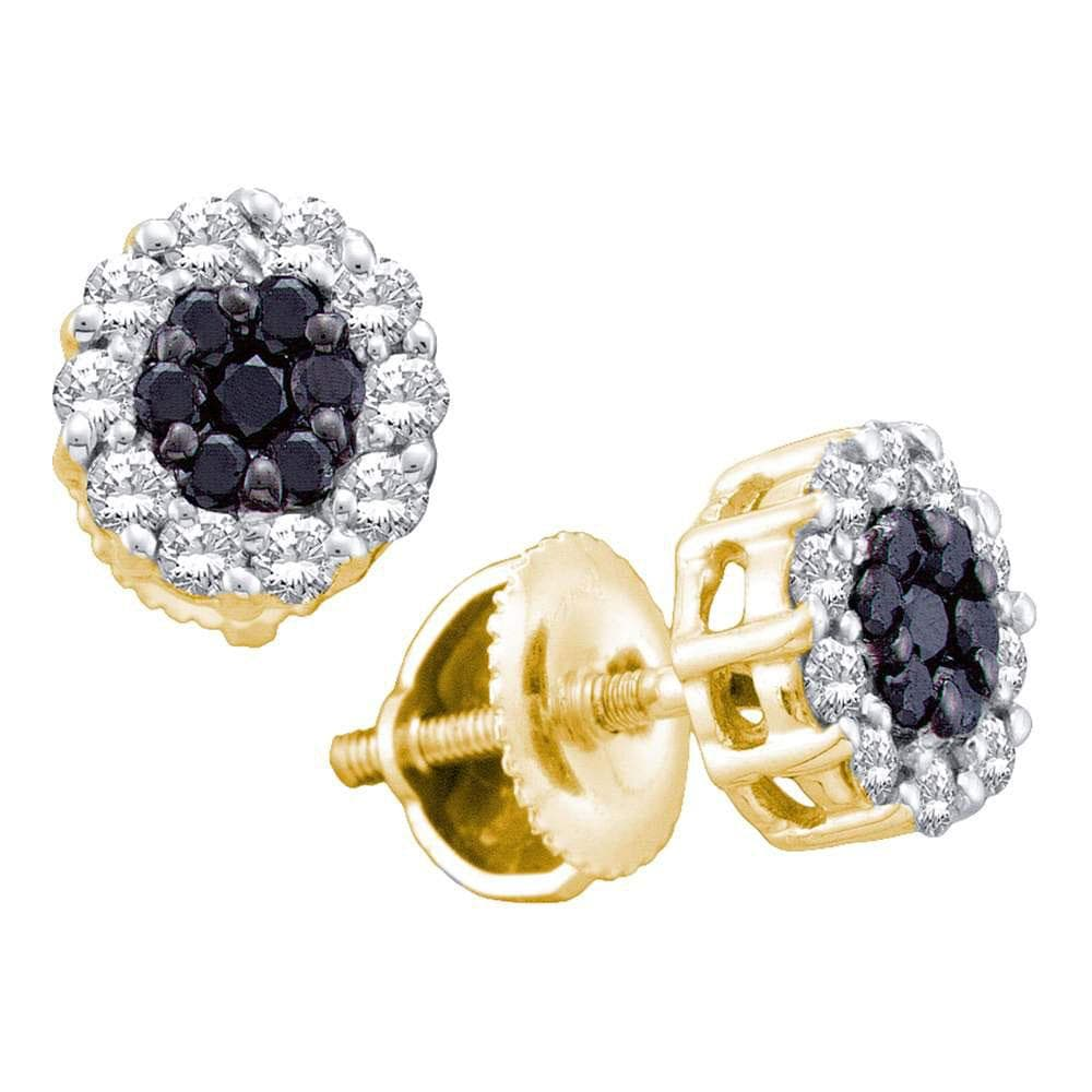 14kt Yellow Gold Womens Round Black Color Enhanced Diamond Flower Cluster Screwback Stud Earrings 1/2 Cttw