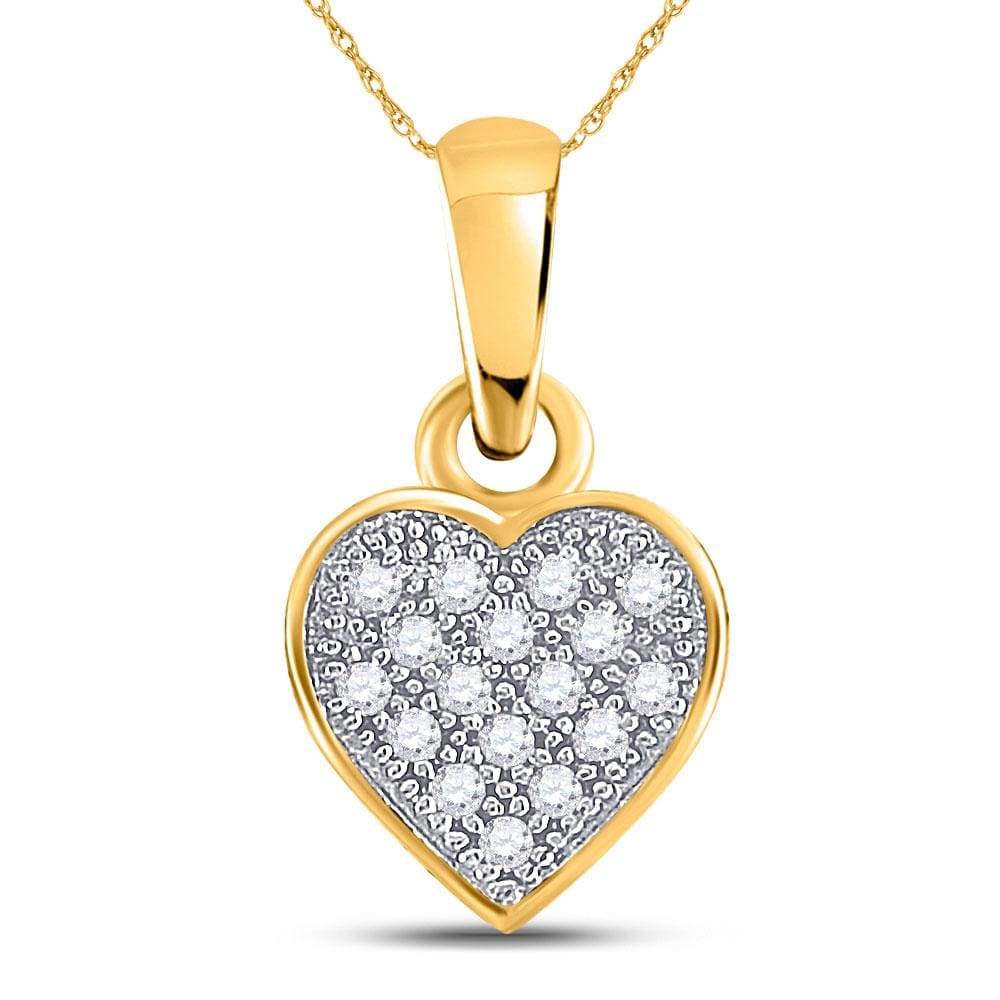 10kt Yellow Gold Womens Round Diamond Cluster Small Heart Love Pendant 1/20 Cttw