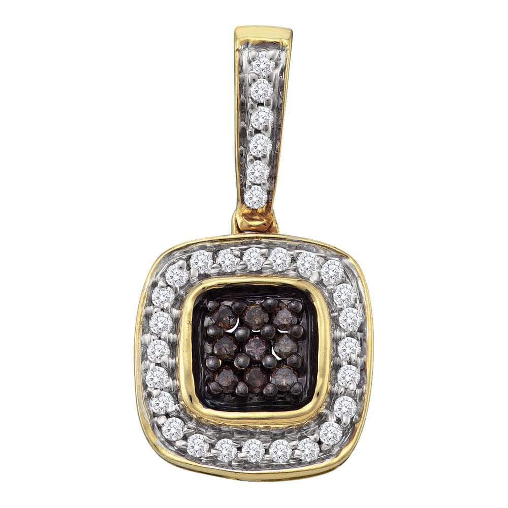 14kt Yellow Gold Womens Round Cognac-brown Color Enhanced Diamond Square Frame Cluster Pendant 1/4 Cttw